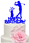 Golfer with Happy Birthday words Cake Acrylic Topper